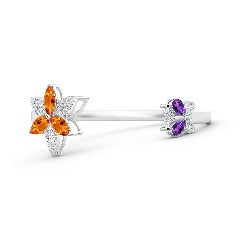 Citrine Trillium Flower and Butterfly Bangle Bracelet