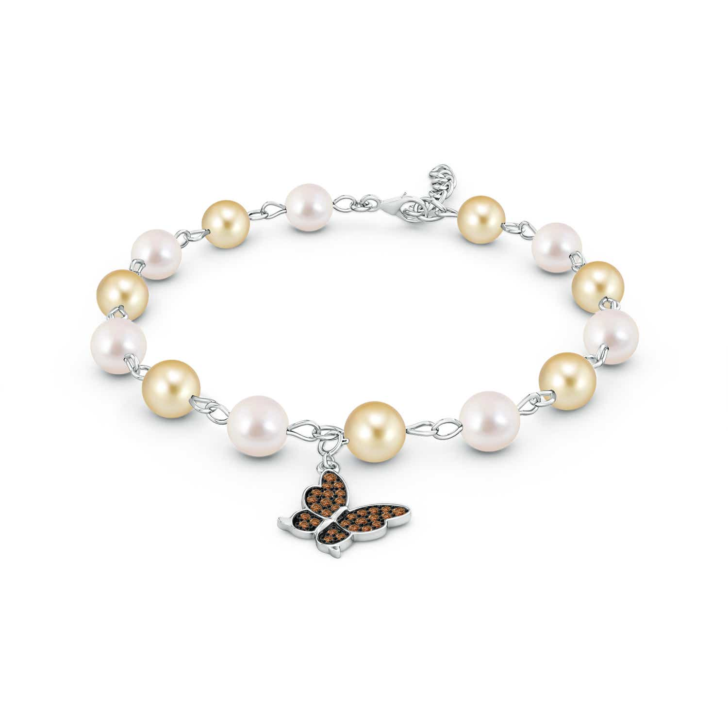 Cultured Pearl and Coffee Diamond Butterfly Charm Bracelet