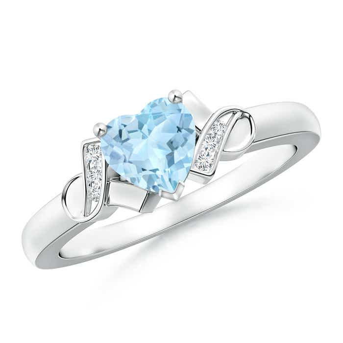 Solitaire Aquamarine Heart Ring with Diamond Accents