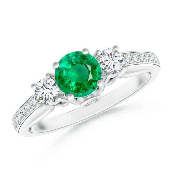 Classic Prong Set Round Emerald and Diamond Three Stone Ring