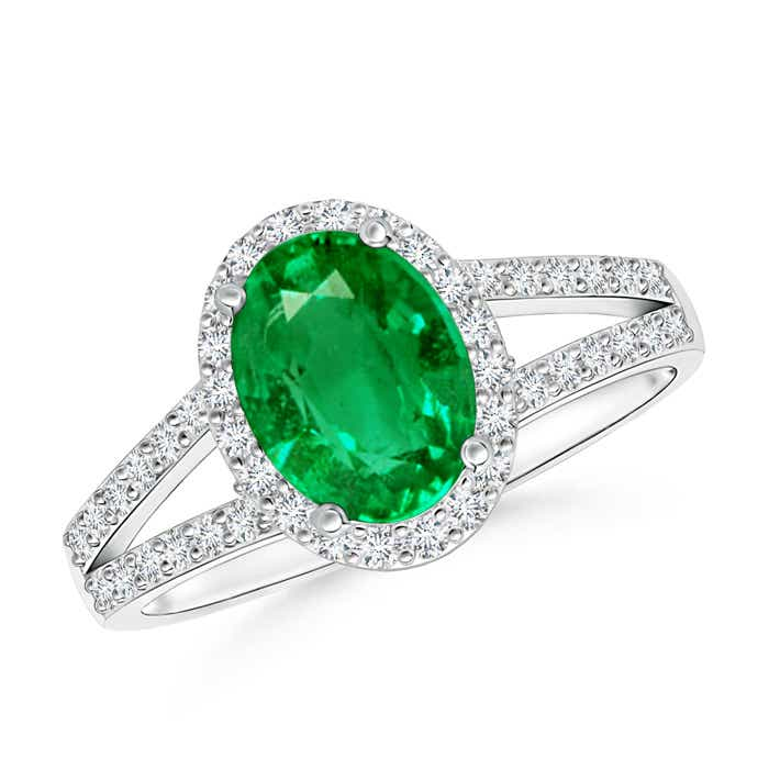 Split Shank Vintage Emerald Ring with Diamond Halo