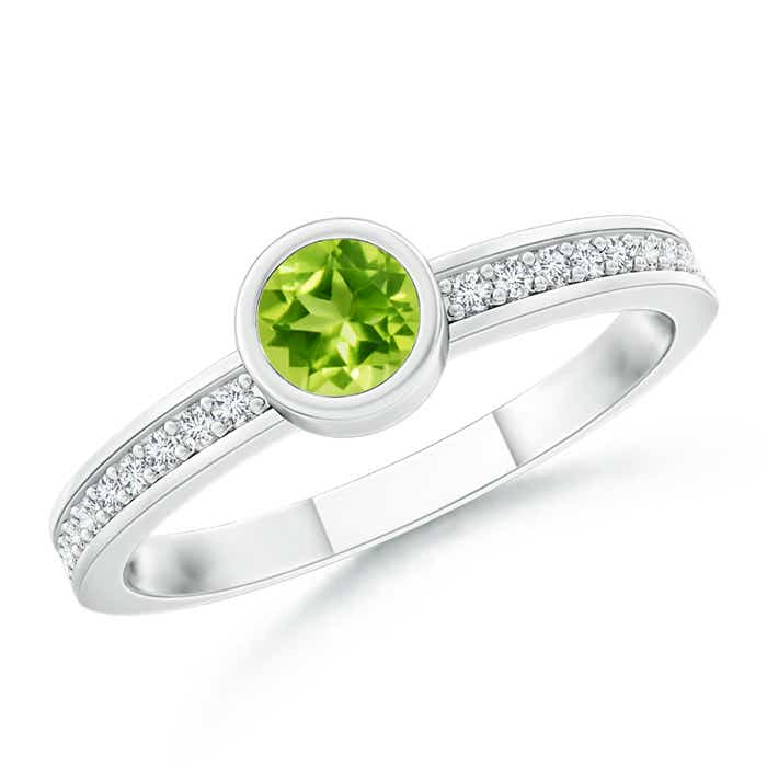 Bezel Round Peridot Stackable Ring with Diamond Accents