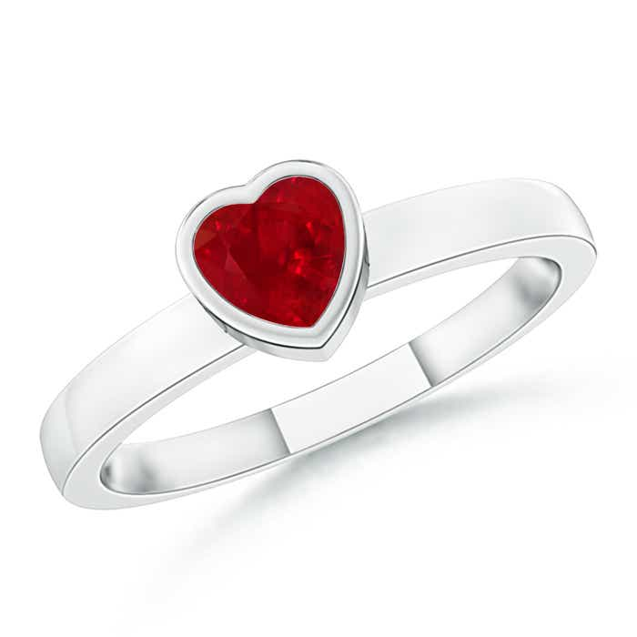 Bezel-Set Solitaire Heart Ruby Promise Ring