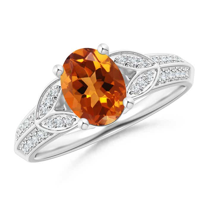 Knife-Edged Oval Citrine Solitaire Ring with Pave Diamonds