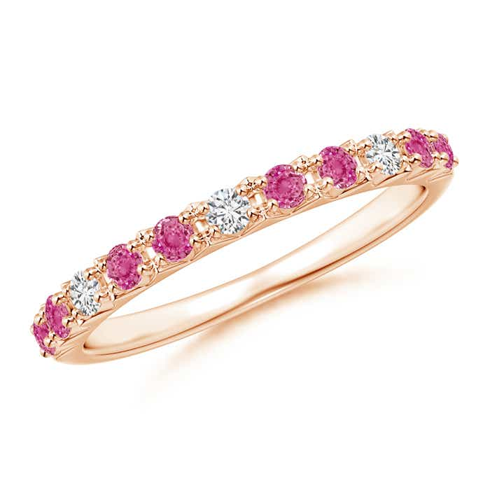 Round Pink Sapphire and Diamond Half Eternity Ring