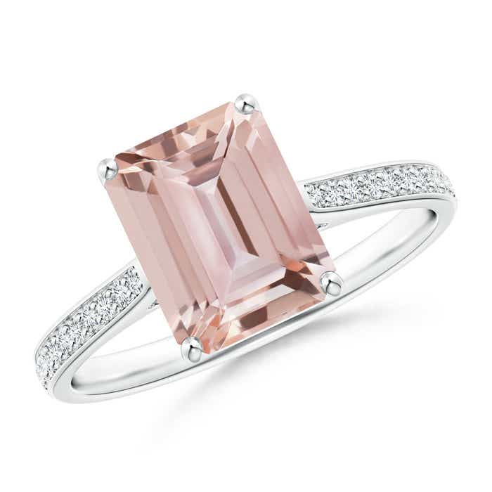 Emerald Cut Morganite Cocktail Ring with Diamond Accents