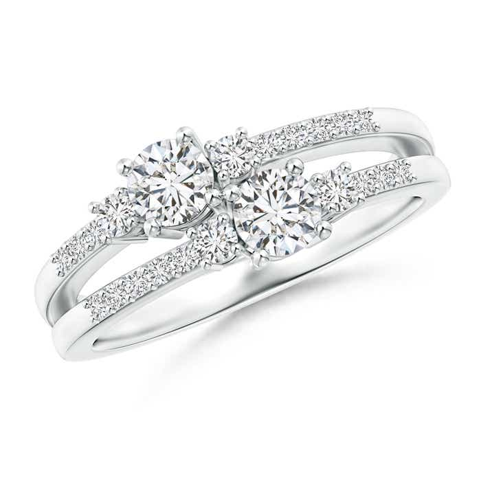 Two Stone Diamond Split Shank Ring with Prong Setting