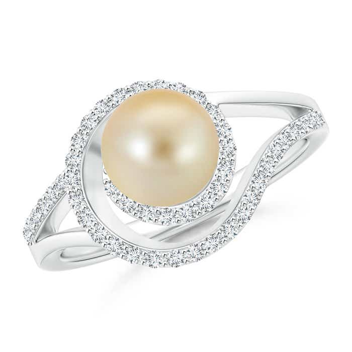 Golden Japanese Cultured Pearl Spiral Halo Engagement Ring with Diamond Accents