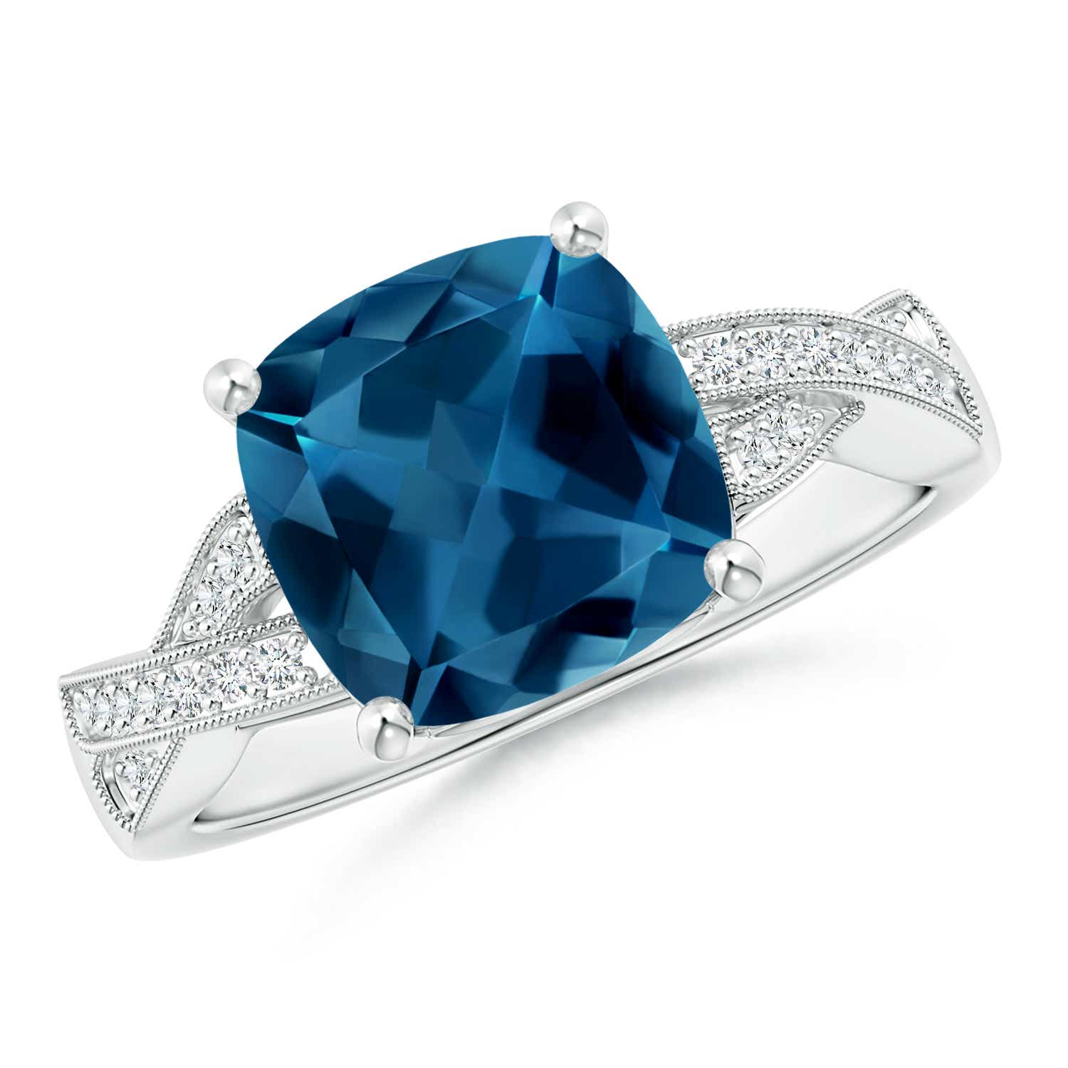 Cushion London Blue Topaz Criss Cross Ring with Diamonds