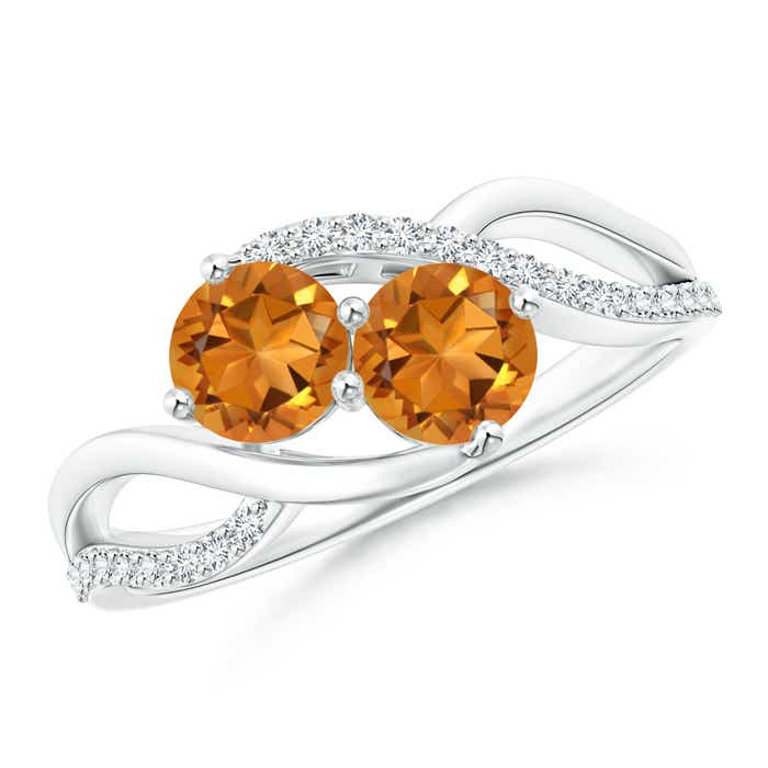 Round Citrine Two Stone Bypass Ring with Diamonds