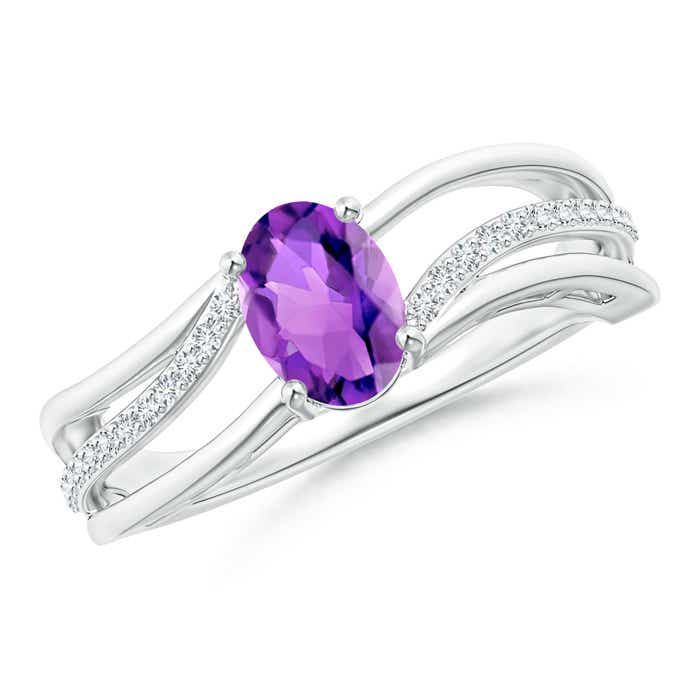 Solitaire Oval Amethyst Bypass Ring with Diamond Accents