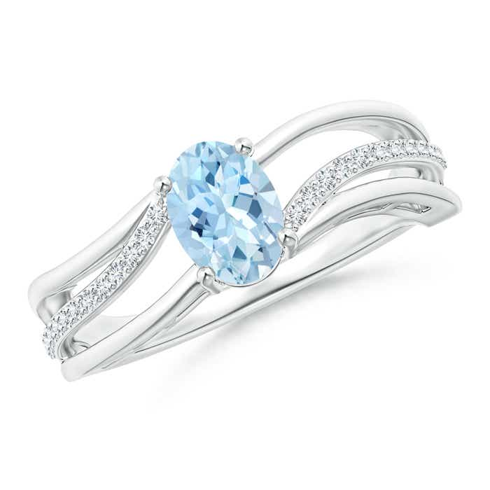 Solitaire Oval Aquamarine Bypass Ring with Diamond Accents