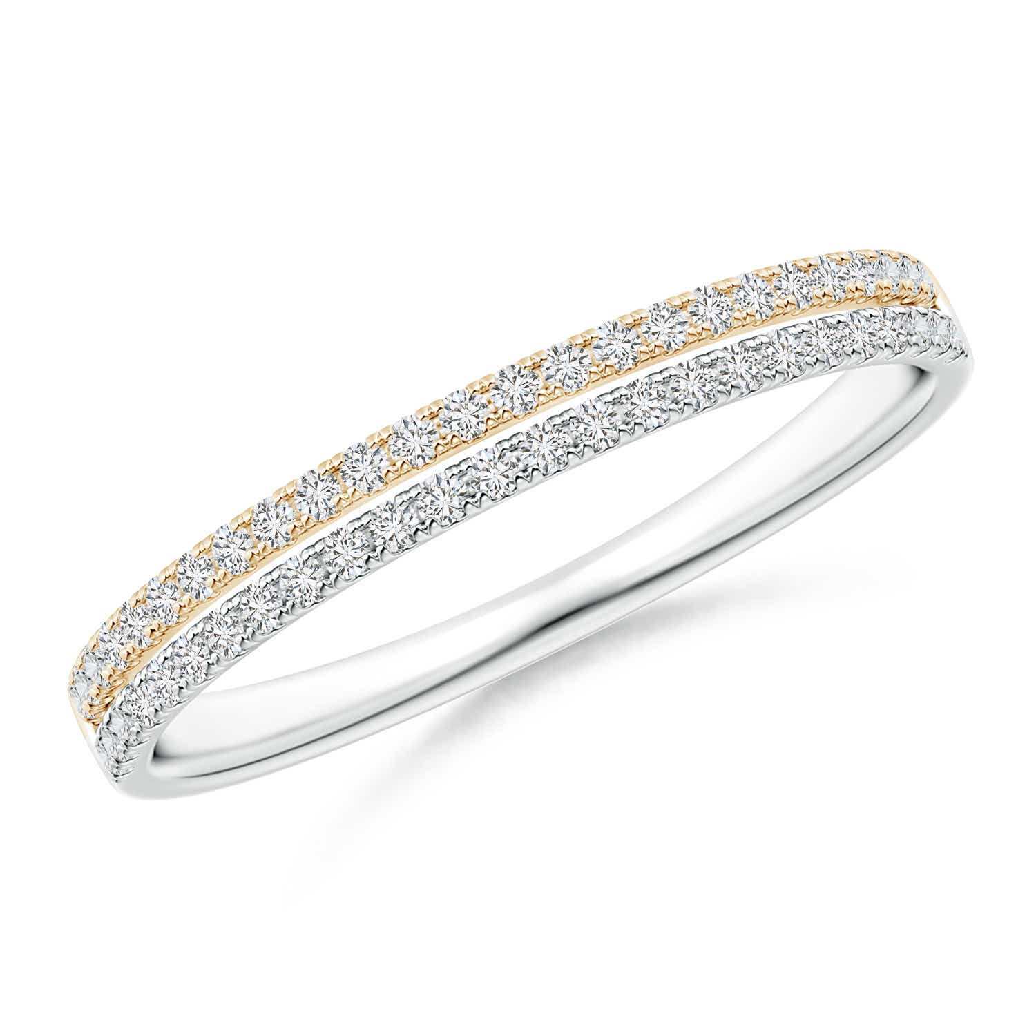 U-Pave Set Diamond Wedding Band in Two Tone Gold