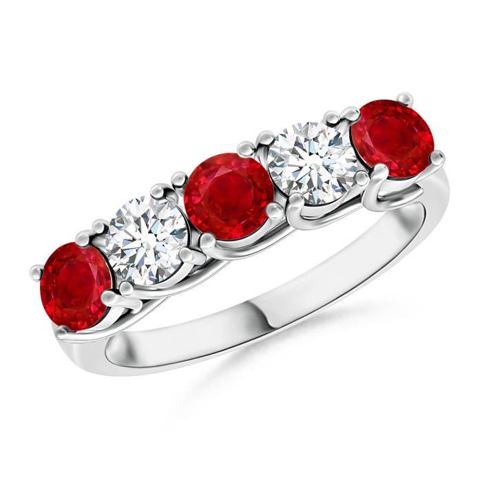 Half Eternity Five Stone Ruby and Diamond Wedding Band