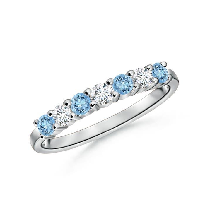 Half Eternity Seven Stone Aquamarine and Diamond Wedding Band