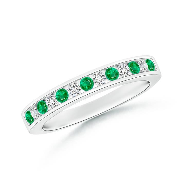 Channel Set Emerald and Diamond Semi Eternity Band