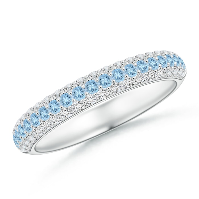 Triple Row Round Aquamarine and Diamond Wedding Band