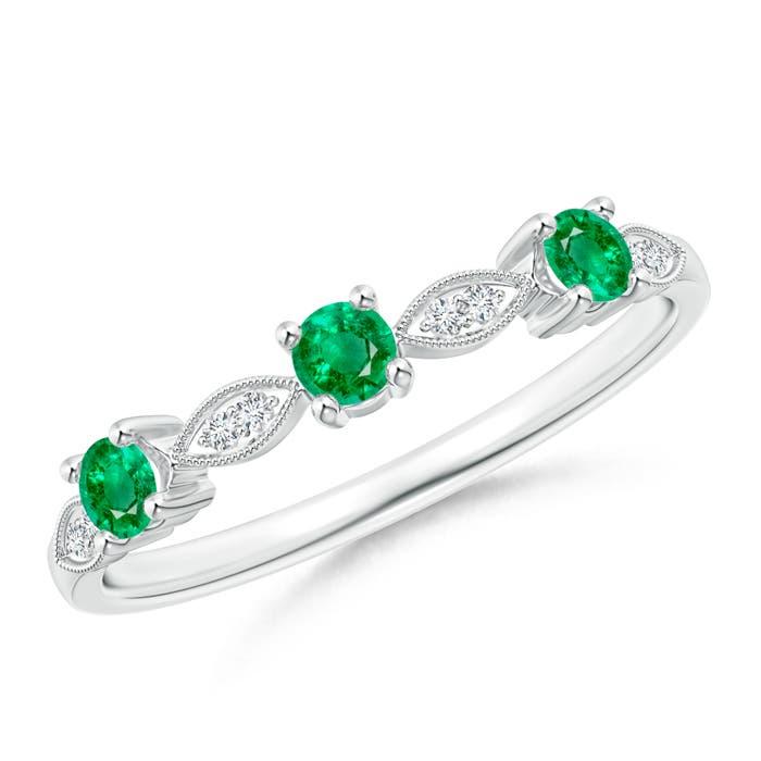 Emerald & Diamond Marquise and Dot Band