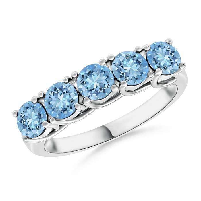 Half Eternity Five Stone Aquamarine Wedding Band