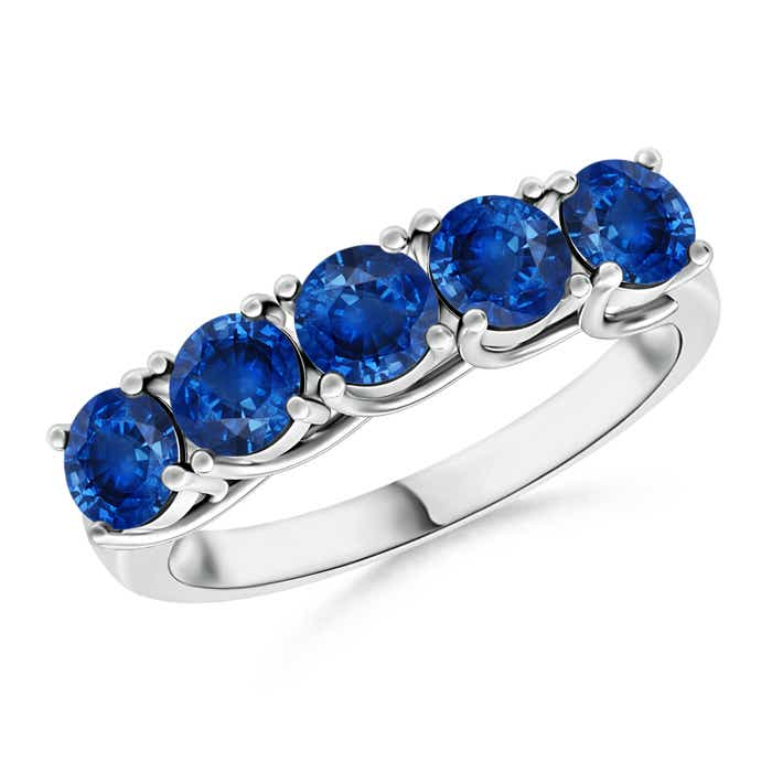 Half Eternity Five Stone Blue Sapphire Wedding Band