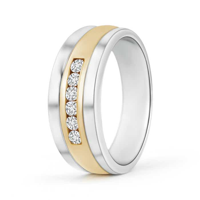 Channel Set Men's Diamond Wedding Band in Two Tone Gold