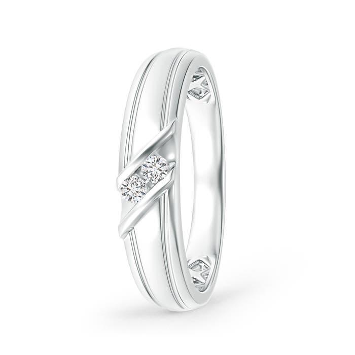 Diagonal Two Stone Diamond Wedding Band with Ridged-Edge