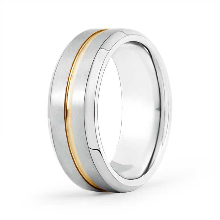 Center Grooved Matte Finish Wedding Band for Him