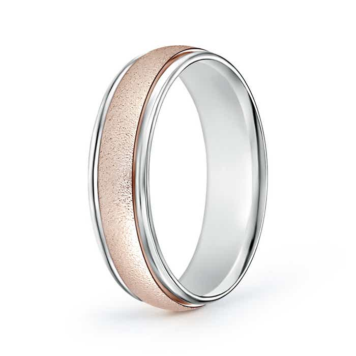 Contemporary Two Tone Wedding Band for Him