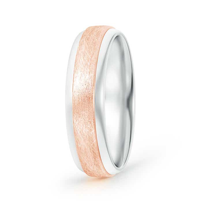 Textured Center Comfort-Fit Dome Men's Wedding Band in Two Tone