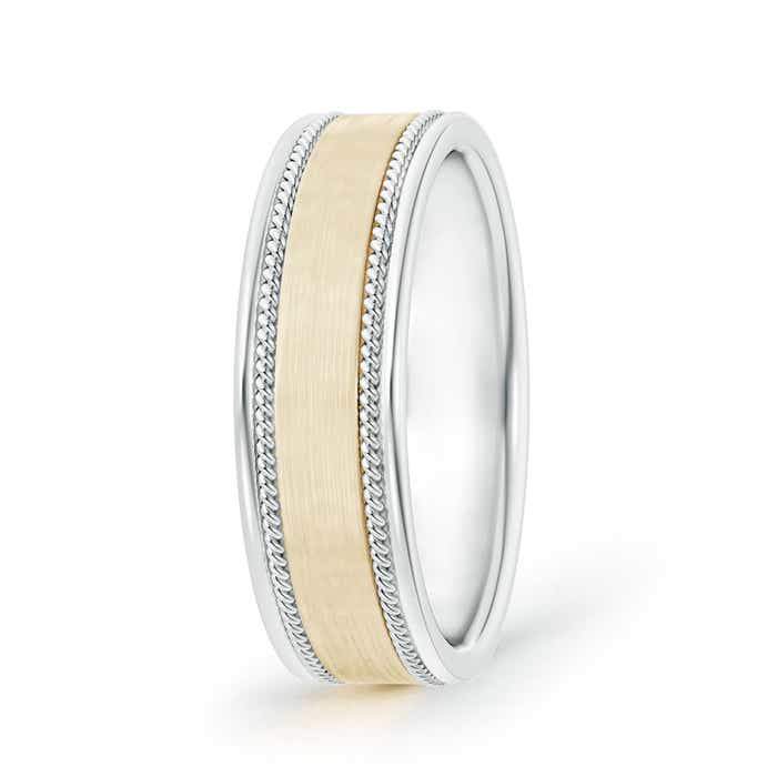 Satin Finish Rope Edged Comfort-Fit Men's Wedding Band in Two Tone